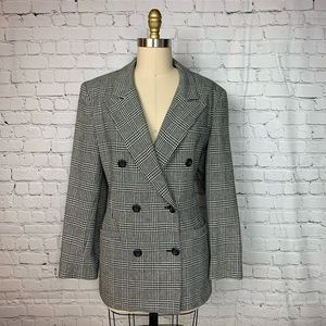 KGR Blazer Black White Plaid Wool Long Trendy
